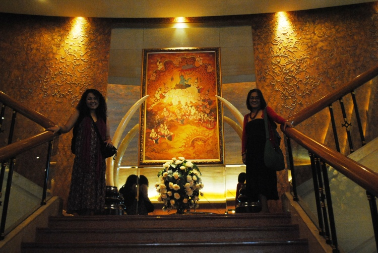 Inside the hotel with my mom